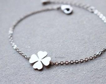 Four leaf clover bracelet, Lucky charm, Everyday jewelry, Bridesmaid jewelry, Wedding bracelet