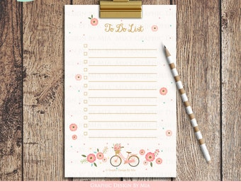 Flower Bicycle To Do List - Instant Download - ST004