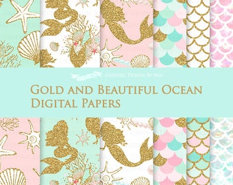 Gold and Beautiful Ocean / Mermaid Digital Paper Pack - Instant Download - DP149