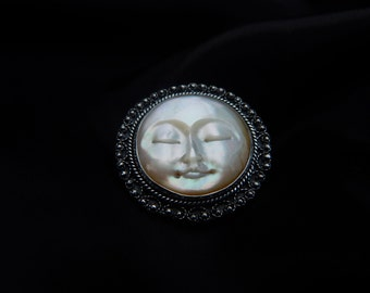 Mother of pearl moon face victorian brooch