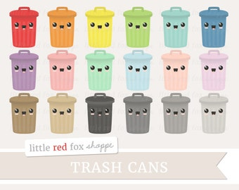 Kawaii Trash Can Clipart, Garbage Can Clip Art Chore Reminder House Icon Metal Household Cute Digital Graphic Design Small Commercial Use