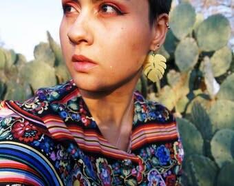 Medium Monstera Earrings | Brass Earrings | Monstera Plant | Tropical Leaf Earrings | Full Brass Earrings | Made-To-Order