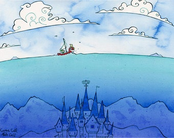 ZELDA WIND WAKER Print 11X14 Ink and Watercolor Painting