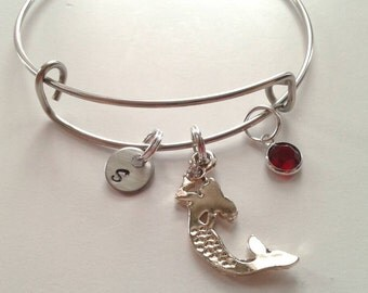 Sale - Only 1 Available Mermaid Charm Bracelet With Initial, Birthstone - Stainless Steel Bangle - Personalized Mermaid Jewelry - Customized