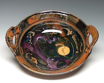 Handled Bowl, Stoneware Serving Bowl, Pottery Serving Bowl with Handles, Hand Thrown Bowl, Pasta Bowl, Wedding Gift