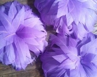 Purple feather Flower Embellishment for Hair accessory, wedding. 4 pieces