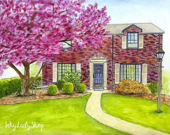 Watercolor house portrait/Custom house painting/Wedding venue drawing/Custom home drawing from photo/Housewarming gift/Home illustration