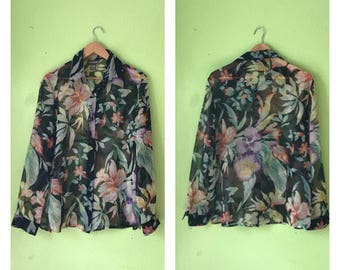 Vintage TROPICAL blouse 1980s sheer top floral shirt BOHO duster jacket hippie floral shirt womens XL