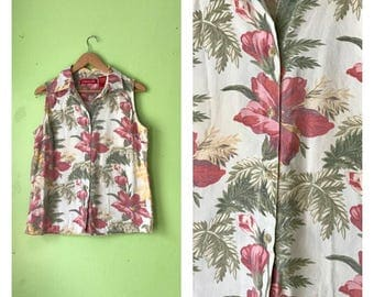 Vintage WHITE floral blouse sleeveless button down top 1990s tropical shirt BOHO HIPPIE floral shirt womens Large