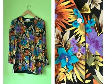 Vintage TROPICAL silk blouse long sleeve floral blouse neon colorful button down silk top 1980s Hawaiian shirt womens SMALL