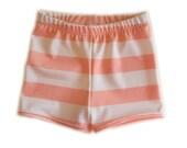 Euro Style Swim Trunks - Peach and White - Swim Trunks - Jammers - Boy's Swimsuits - Boy's Trunks