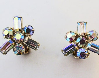 Sophisticated Vintage 1950s Signed Weiss Aurora Borealis Rhinestone Earrings