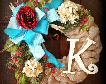 Winter wreath, hydrangea wreath, Aqua wreath, Burlap wreath with initial, Mother's day wreath, teal wreath, wreath with initial, Door wreath