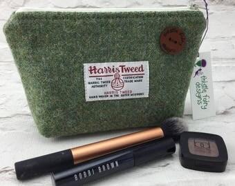 A stunning Harris Tweed cosmetic bag in a moss green harris tweed , cosmetic pouch, Harris tweed purse.