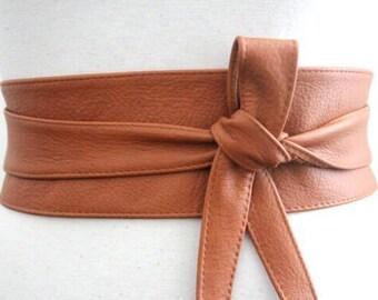 Dark Tan Leather Obi Belt | Waist or Hip Belt | Leather tie belt | Real Nappa Leather Belt| plus size