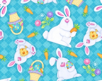 Hippity Hop Fabric by Henry Glass Easter Bunnies