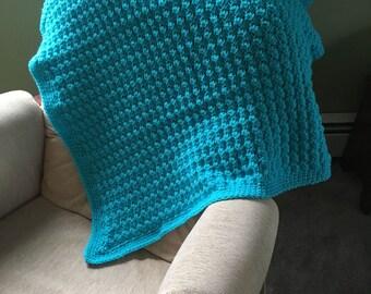 Crochet turquoise baby blanket - handmade