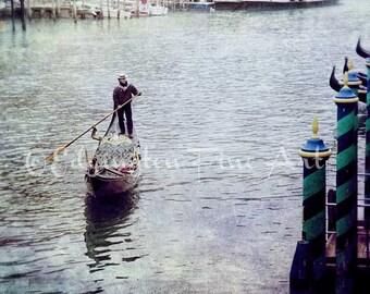Gondola Photo, Travel photography, Venice photo, Europe Photography, Venice Italy, Gondolier, Italy, Grand Canal, water, boat, blue, Europe