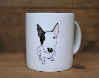 Hand painted animal mug cup - Cute mug cup -Bull Terrier dog mug cup