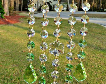 Spring Green Crystal Sun Catcher, Crystal Suncatcher, Garden Decor, Birthday Gift, Patio Decor, Wedding Gift, Window Art, SC 5227D
