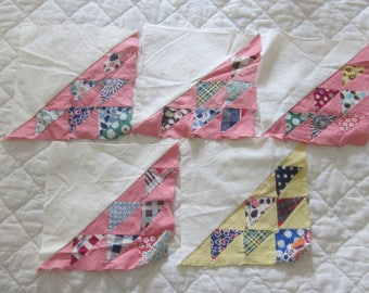 "5 Sweet Birds in the Air Vintage Quilt Blocks 7  1/4"""