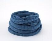 collier textile Perle de Lin - denim