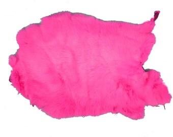 Better Grade Dyed Fluorescent Pink Rabbit Pelt Skin Hide