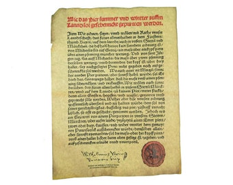 German Beer Purity Act (Reinheitsgebot) Parchment