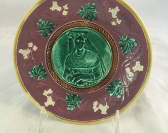 Antique Majolica Plate With A Midieval Lady In Waiting