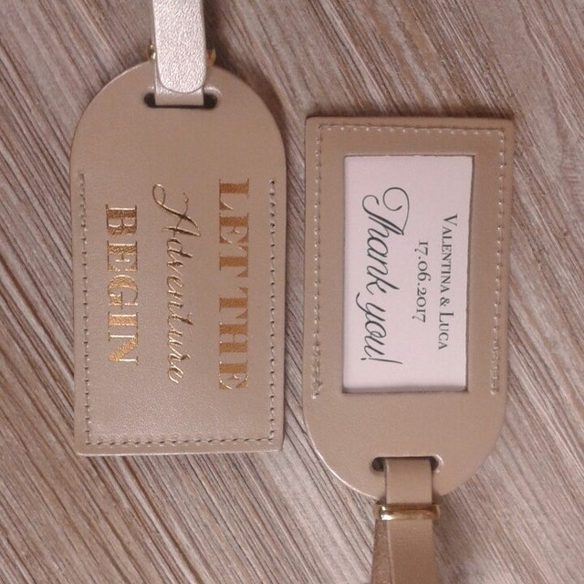 Leather Luggage Tag Wedding Favors Escort Bride By