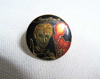 RARE Vintage Early 80s David Bowie - Scary Monsters Album (1980) Enamel Pin / Button / Badge