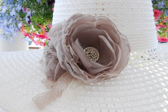 Taupe organdy hair flower;taupe bridal hair clip;taupe wedding hair flower