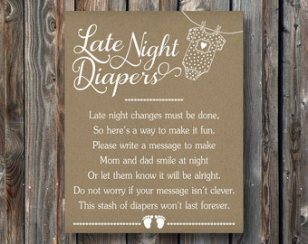PRINTABLE Late Night Diapers Sign Printable Baby Shower Sign Baby Shower  Game Diapers
