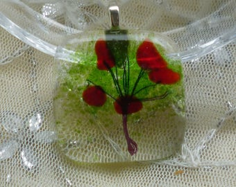 Fused Glass Pendant.  Red and Green Tree Glass Necklace