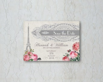 Paris Save the Date Card or Magnet