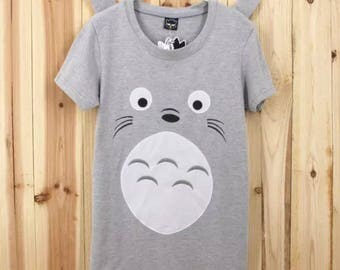 TOtoro My Neighbour 3D ears cosplay summer Tshirt Tee cute studio ghibli