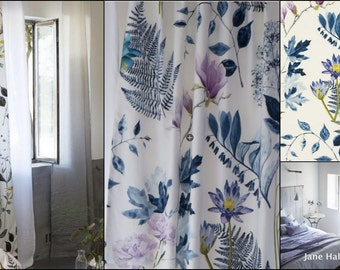 "Drapery Panels, 54""x96"", Designers Guild Fabric, Mokuren""Ink Blue Printed Cotton, By Jane Hall Design"