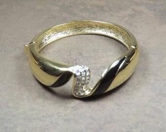 Hinged Bangle Bracelet - Black Enamel & Rhinestones - Gold tone metal - Vintage Estate Jewelry - Collectible Costume Jewelry