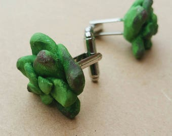 Succulent/Cactus Cufflinks - Handmade Plant Polymer Clay Cuff Links- Set of 2