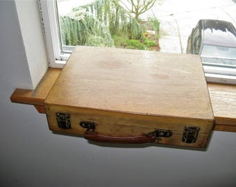 Vintage Wooden Dovetailed Artist's Case, Small Artist Box with Compartments and attached Easel