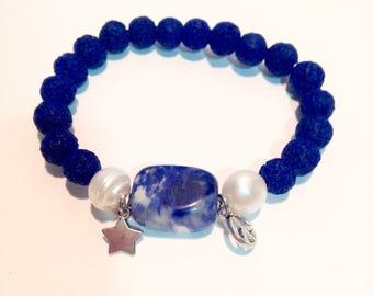 Jasper blue lava stone bracelet