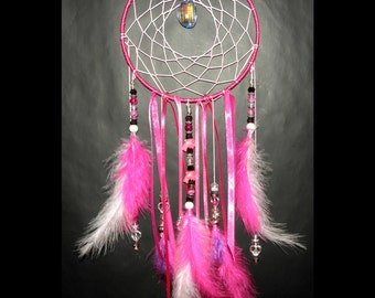 Dreamcatcher with Pink Dolphin Gemstones and Maraboe Feathers Bedroom home Decoration Total Length: 41 cm- 16.1 inch