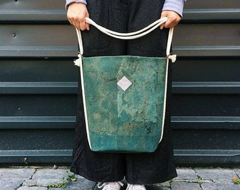 "vegan bag ""Clari"", backpack cork, turquoise backpack, mint bag, cork bag, 2 in 1 bag, faux-leather, minimalistic bag"