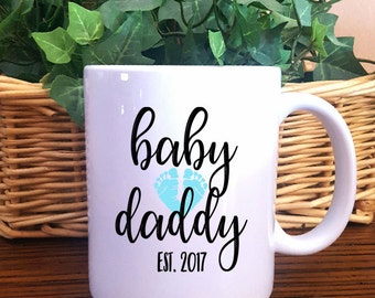 Baby Daddy Coffee Mug, New Dad Mug, Daddy with Baby Feet