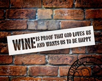 Wine Is Proof - Word Stencil - Select Size - STCL1332 - by StudioR12