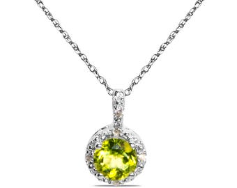 """Lovely .025CT Diamond with Peridot in 10k White Gold in Pendant with Complimentary 18"""" Chain"""