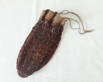 Antique Art Deco Brown Bronze-Tone Bead Drawstring Evening Hand Bag Purse