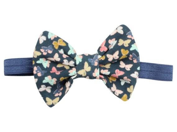 Colorful Headband Baby Headband Mothlike Shadows Hair Bow Clip Toddler Bow Hair Butterfly Hair Bow Clip Headband Baby Girl Gift Blue Band