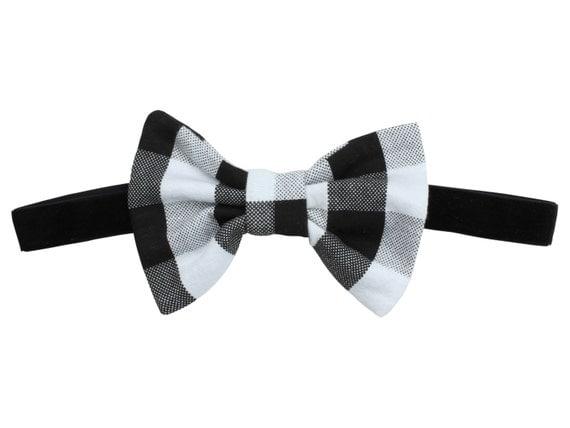 Black and White Buffalo Plaid Headband Christmas Headband Winter Headband Baby Headband Bow Clip Toddler Bow Christmas Bow Black White Bow