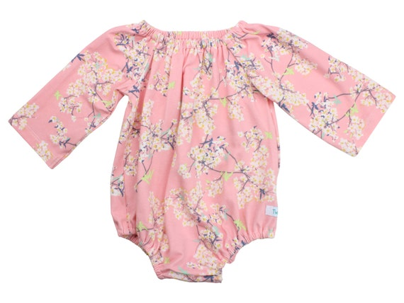 Pink Cherry Blossom Long Sleeve Baby Romper Toddler Romper with Snaps Peasant Dress Long Sleeve Romper Fall Romper Pink Floral Romper Dress